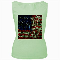 American Flag Blocks Women s Tank Top (green) by bloomingvinedesign
