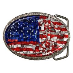 American Flag Blocks Belt Buckle (oval) by bloomingvinedesign