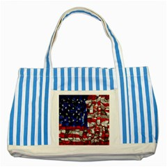 American Flag Blocks Blue Striped Tote Bag by bloomingvinedesign