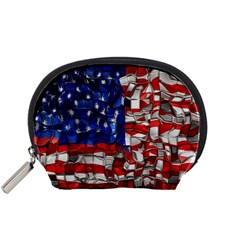American Flag Blocks Accessory Pouch (small) by bloomingvinedesign