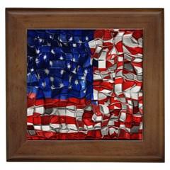 American Flag Blocks Framed Ceramic Tile by bloomingvinedesign