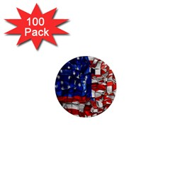 American Flag Blocks 1  Mini Button Magnet (100 Pack) by bloomingvinedesign