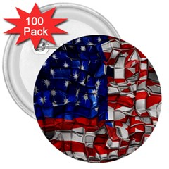 American Flag Blocks 3  Button (100 Pack) by bloomingvinedesign