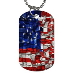 American Flag Blocks Dog Tag (two Sided)  by bloomingvinedesign