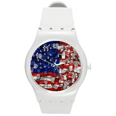 American Flag Blocks Plastic Sport Watch (medium) by bloomingvinedesign