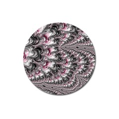 Black Red White Lava Fractal Magnet 3  (round) by bloomingvinedesign