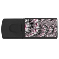 Black Red White Lava Fractal 4GB USB Flash Drive (Rectangle) by bloomingvinedesign