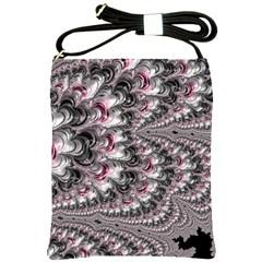 Black Red White Lava Fractal Shoulder Sling Bag by bloomingvinedesign