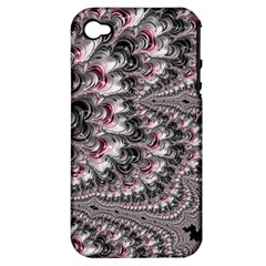 Black Red White Lava Fractal Apple Iphone 4/4s Hardshell Case (pc+silicone) by bloomingvinedesign