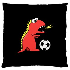 Black Cartoon Dinosaur Soccer Large Cushion Case (single Sided)  by CreaturesStore