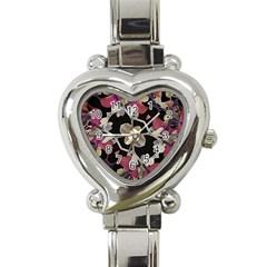 Floral Arabesque Decorative Artwork Heart Italian Charm Watch  by dflcprints
