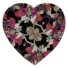 Floral Arabesque Decorative Artwork Jigsaw Puzzle (heart) by dflcprints