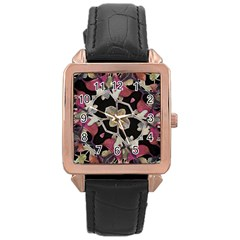 Floral Arabesque Decorative Artwork Rose Gold Leather Watch  by dflcprints