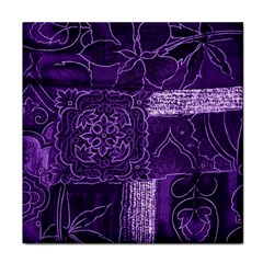 Pretty Purple Patchwork Ceramic Tile by FunWithFibro