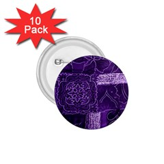 Pretty Purple Patchwork 1 75  Button (10 Pack) by FunWithFibro