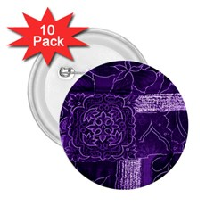 Pretty Purple Patchwork 2 25  Button (10 Pack) by FunWithFibro