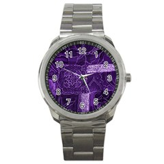 Pretty Purple Patchwork Sport Metal Watch by FunWithFibro