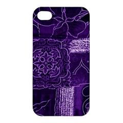 Pretty Purple Patchwork Apple Iphone 4/4s Premium Hardshell Case by FunWithFibro