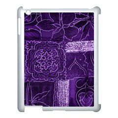 Pretty Purple Patchwork Apple Ipad 3/4 Case (white) by FunWithFibro