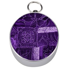 Pretty Purple Patchwork Silver Compass by FunWithFibro
