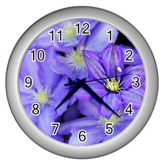 Purple Wildflowers For Fms Wall Clock (silver) by FunWithFibro