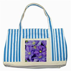 Purple Wildflowers For Fms Blue Striped Tote Bag by FunWithFibro