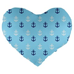 Anchors In Blue And White 19  Premium Heart Shape Cushion by StuffOrSomething