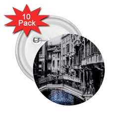 Vintage Venice Canal 2.25  Button (10 pack) by bloomingvinedesign