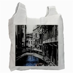 Vintage Venice Canal White Reusable Bag (One Side) by bloomingvinedesign