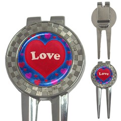 Love Theme Concept  Illustration Motif  Golf Pitchfork & Ball Marker by dflcprints