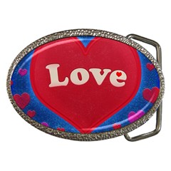 Love theme concept  illustration motif  Belt Buckle (Oval) by dflcprints