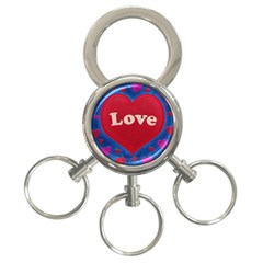 Love Theme Concept  Illustration Motif  3 Ring Key Chain by dflcprints
