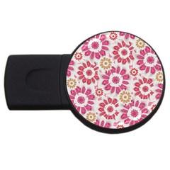 Feminine Flowers Pattern 4gb Usb Flash Drive (round) by dflcprints
