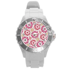Feminine Flowers Pattern Plastic Sport Watch (large) by dflcprints