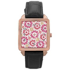 Feminine Flowers Pattern Rose Gold Leather Watch  by dflcprints