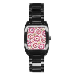 Feminine Flowers Pattern Stainless Steel Barrel Watch by dflcprints