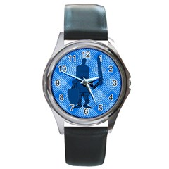 Blue Knight On Plaid Round Leather Watch (silver Rim) by StuffOrSomething