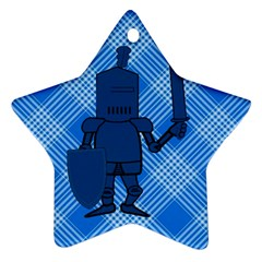 Blue Knight On Plaid Star Ornament by StuffOrSomething