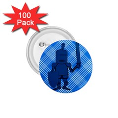 Blue Knight On Plaid 1 75  Button (100 Pack) by StuffOrSomething