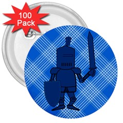 Blue Knight On Plaid 3  Button (100 Pack) by StuffOrSomething