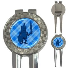 Blue Knight On Plaid Golf Pitchfork & Ball Marker by StuffOrSomething