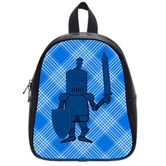 Blue Knight On Plaid School Bag (small) by StuffOrSomething