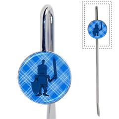Blue Knight On Plaid Bookmark by StuffOrSomething