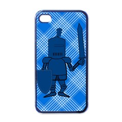 Blue Knight On Plaid Apple Iphone 4 Case (black) by StuffOrSomething