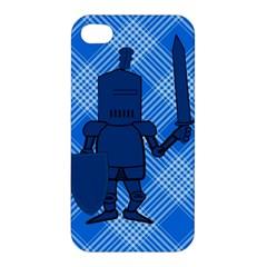 Blue Knight On Plaid Apple Iphone 4/4s Hardshell Case by StuffOrSomething