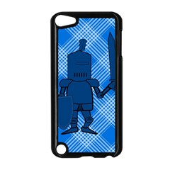 Blue Knight On Plaid Apple Ipod Touch 5 Case (black) by StuffOrSomething