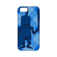 Blue Knight On Plaid Apple Iphone 5 Classic Hardshell Case (pc+silicone) by StuffOrSomething