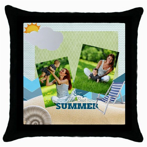 Summer By Summer Time    Throw Pillow Case (black)   6h8r8wky0hpd   Www Artscow Com Front