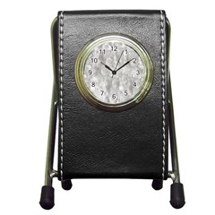 Abstract In Silver Stationery Holder Clock by StuffOrSomething