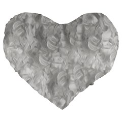 Abstract In Silver 19  Premium Heart Shape Cushion by StuffOrSomething